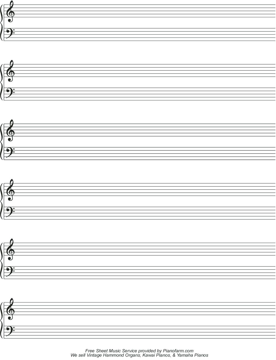 Free Music Page - Pianofarm & Pianoorgandepot Harvesting - Free Printable Blank Music Staff Paper