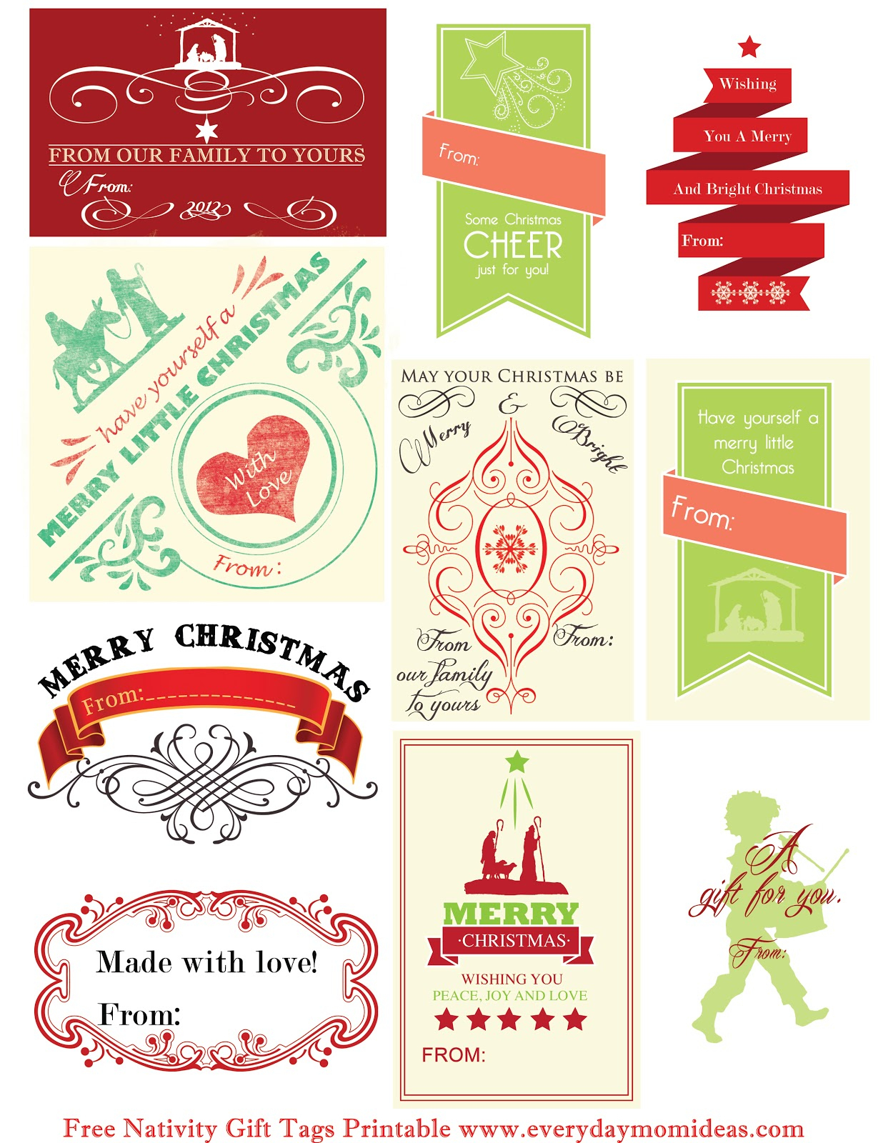 Free Nativity Gift Tags Printable - Everyday Mom Ideas - Free Printable Gift Tags Personalized