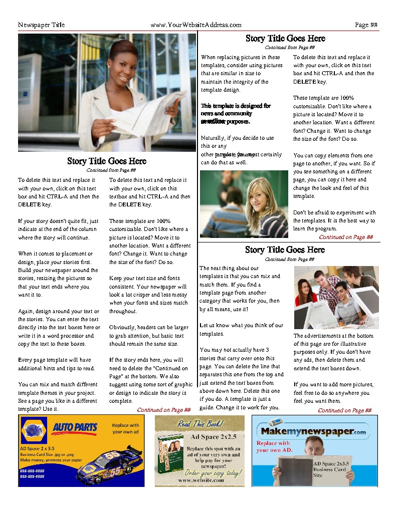 Free Newsletter Templates - Print And Digital   Makemynewspaper - Free Printable Newsletter Templates