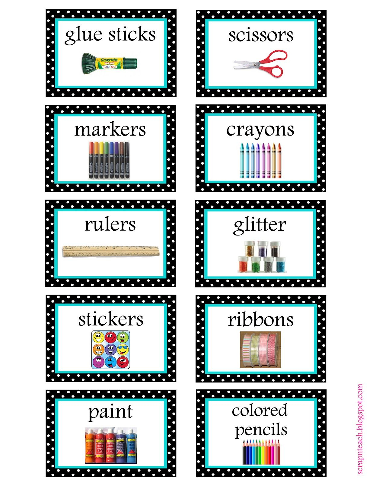 Free Organization Label Printables. We Won't Be Needing That Glitter - Free Printable Classroom Tray Labels