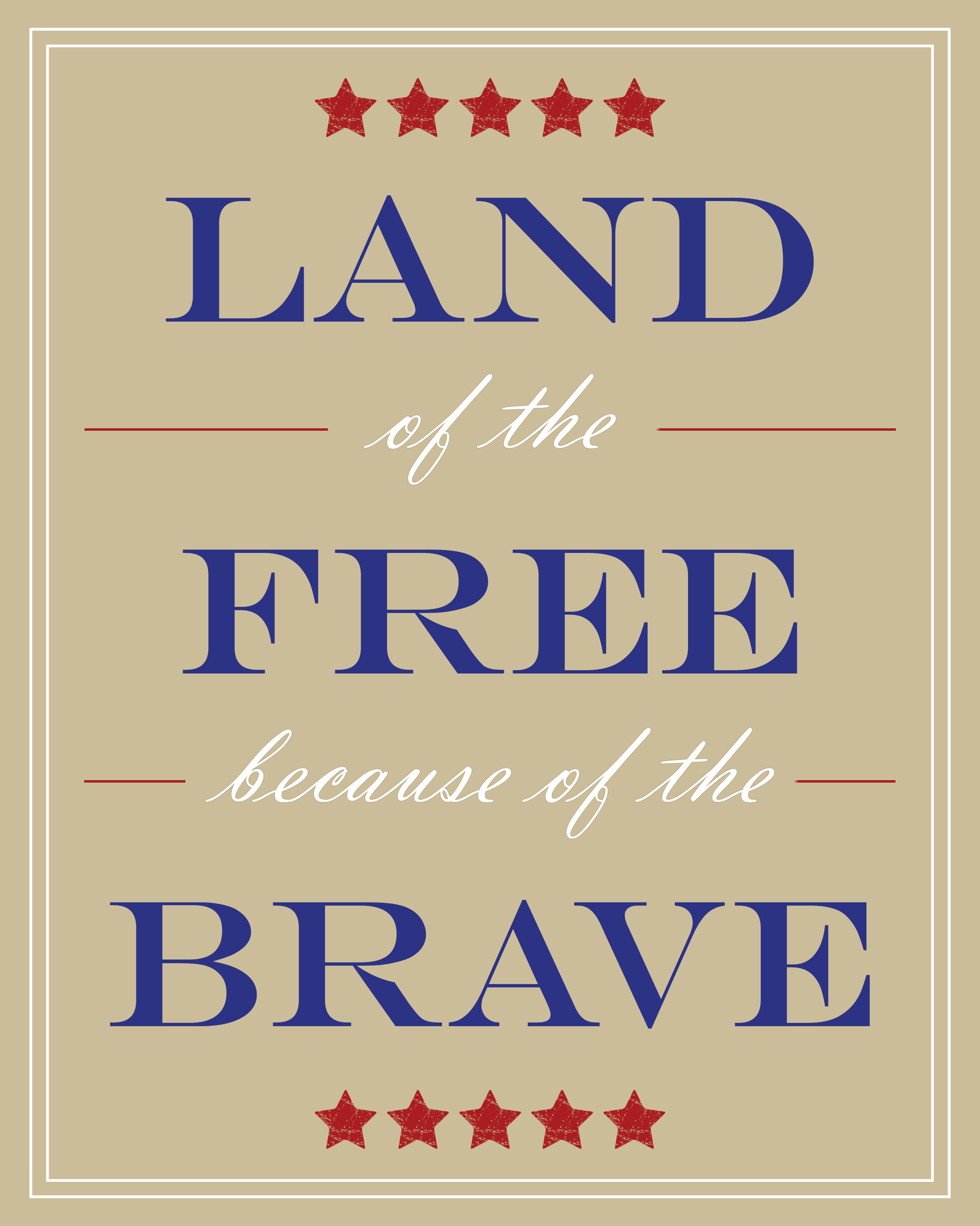 Free Patriotic 8X10 Printable Art - Precision Printables - Home Of The Free Because Of The Brave Printable