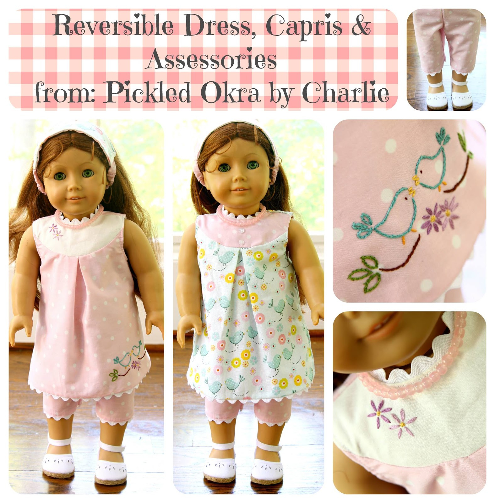 "Free Pattern For An 18"" American Girl Doll Reversible Dress - American Girl Doll Clothes Patterns Free Printable"