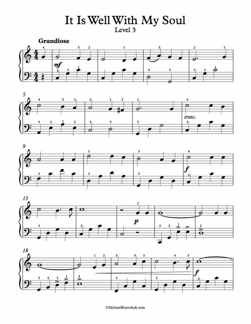 Free Piano Arrangement Sheet Music - It Is Well With My Soul - Free Printable Gospel Sheet Music For Piano