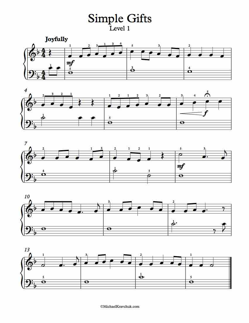 Free Piano Arrangement Sheet Music - Simple Gifts - Free Piano Sheet Music Online Printable Popular Songs
