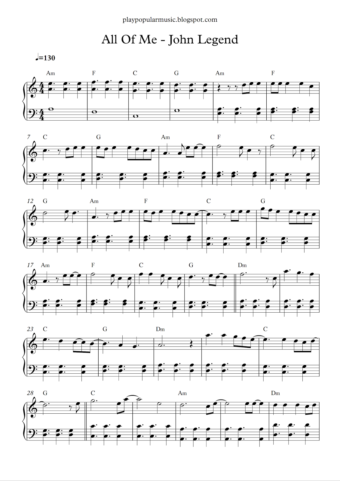 Free Piano Sheet Music: All Of Me - John Legend.pdf What's Going On - Free Printable Music Sheets Pdf