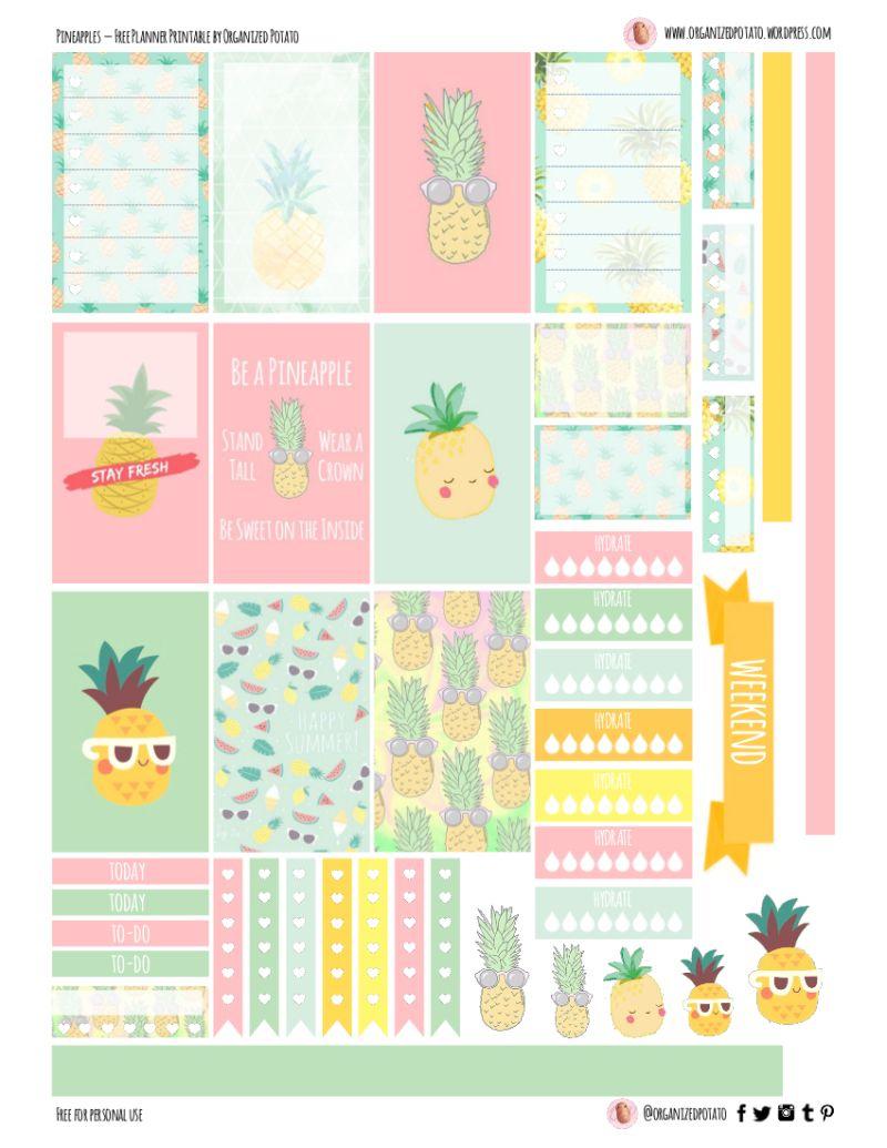 Free Planner Printable: Pineapples | Printables | Pinterest - Free Printable Stickers