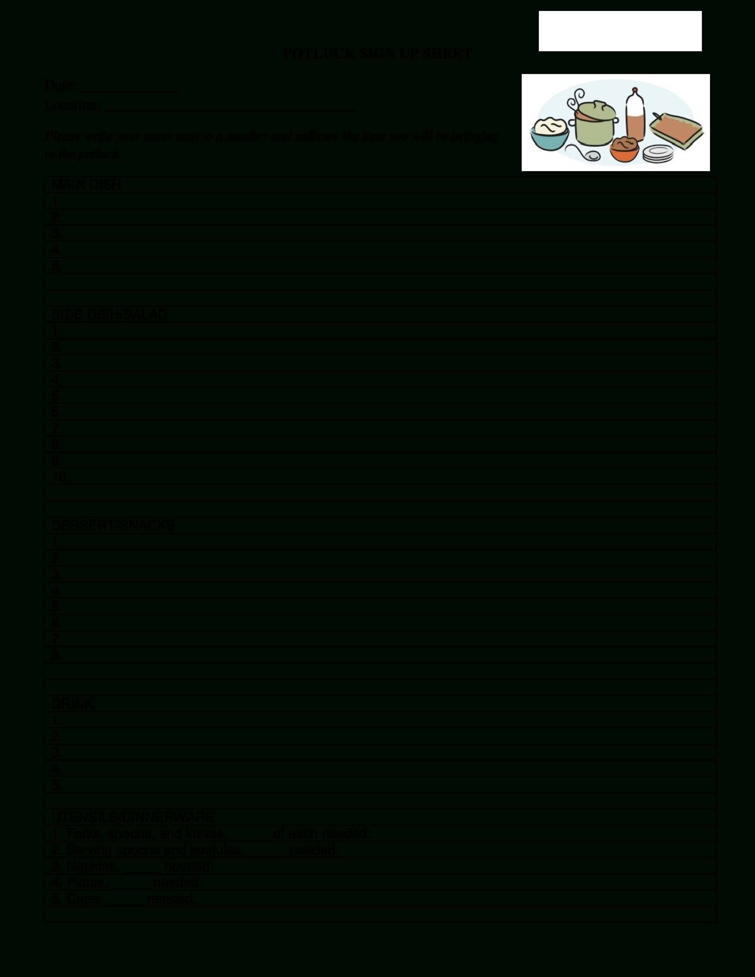 Free Potluck Signup Sheet   Templates At Allbusinesstemplates - Free Printable Sign Up Sheets For Potlucks