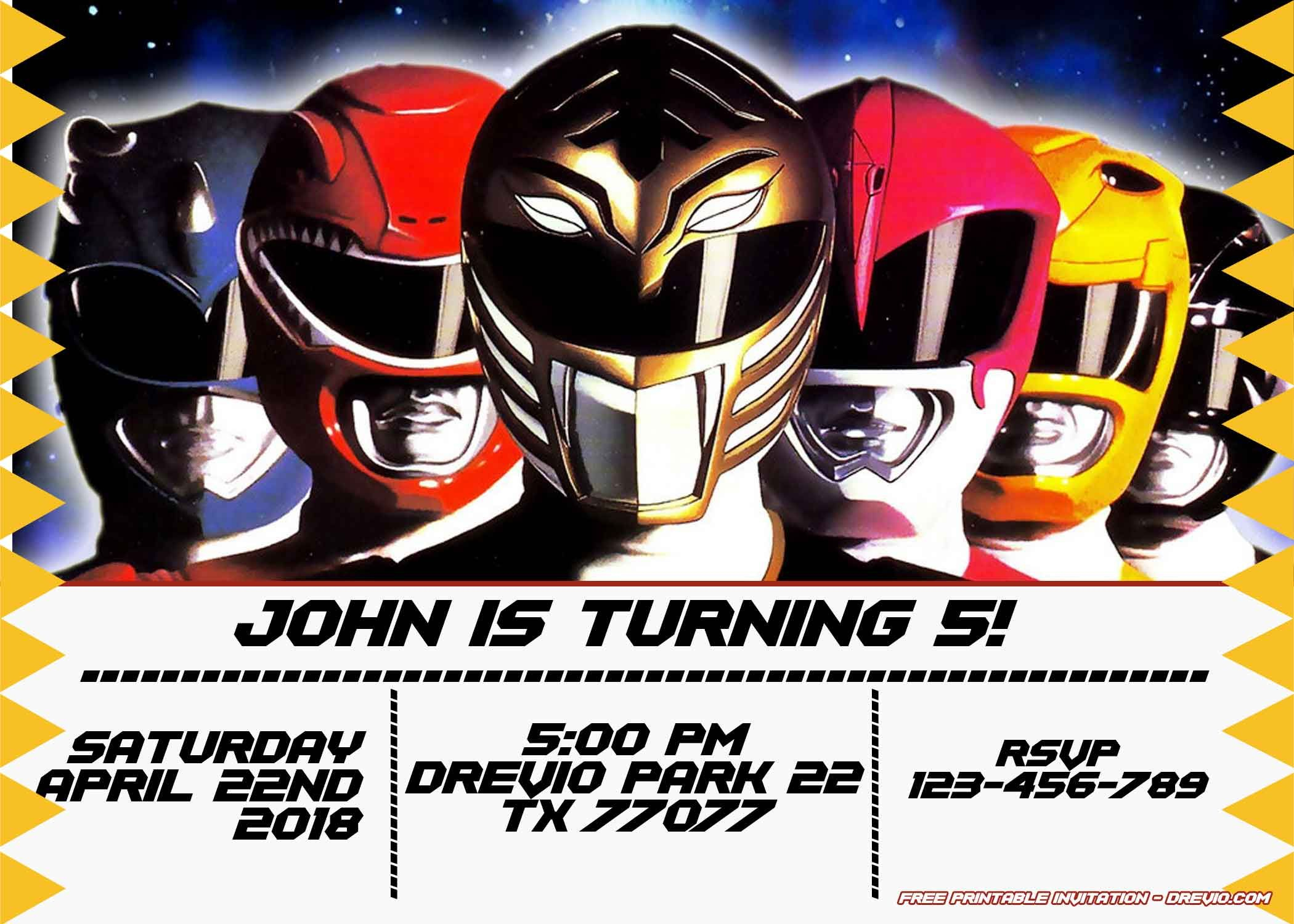 Free Power Rangers Birthday Invitation | Life's A Party - Free Printable Power Ranger Birthday Invitations