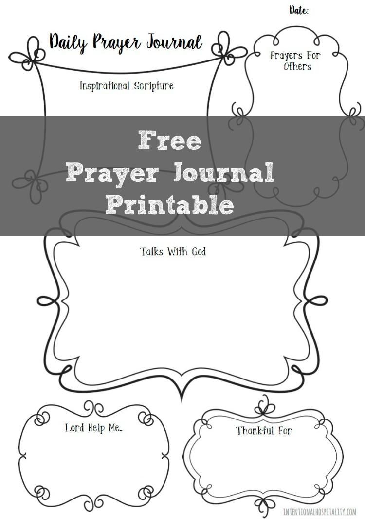 Free Prayer Journal Printable   Intentional Hospitality - Free Printable Prayer Journal