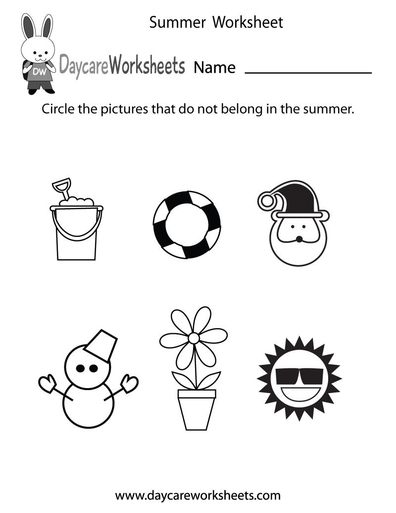Free Preschool Summer Worksheet - Free Printable Seasons Worksheets For Kindergarten