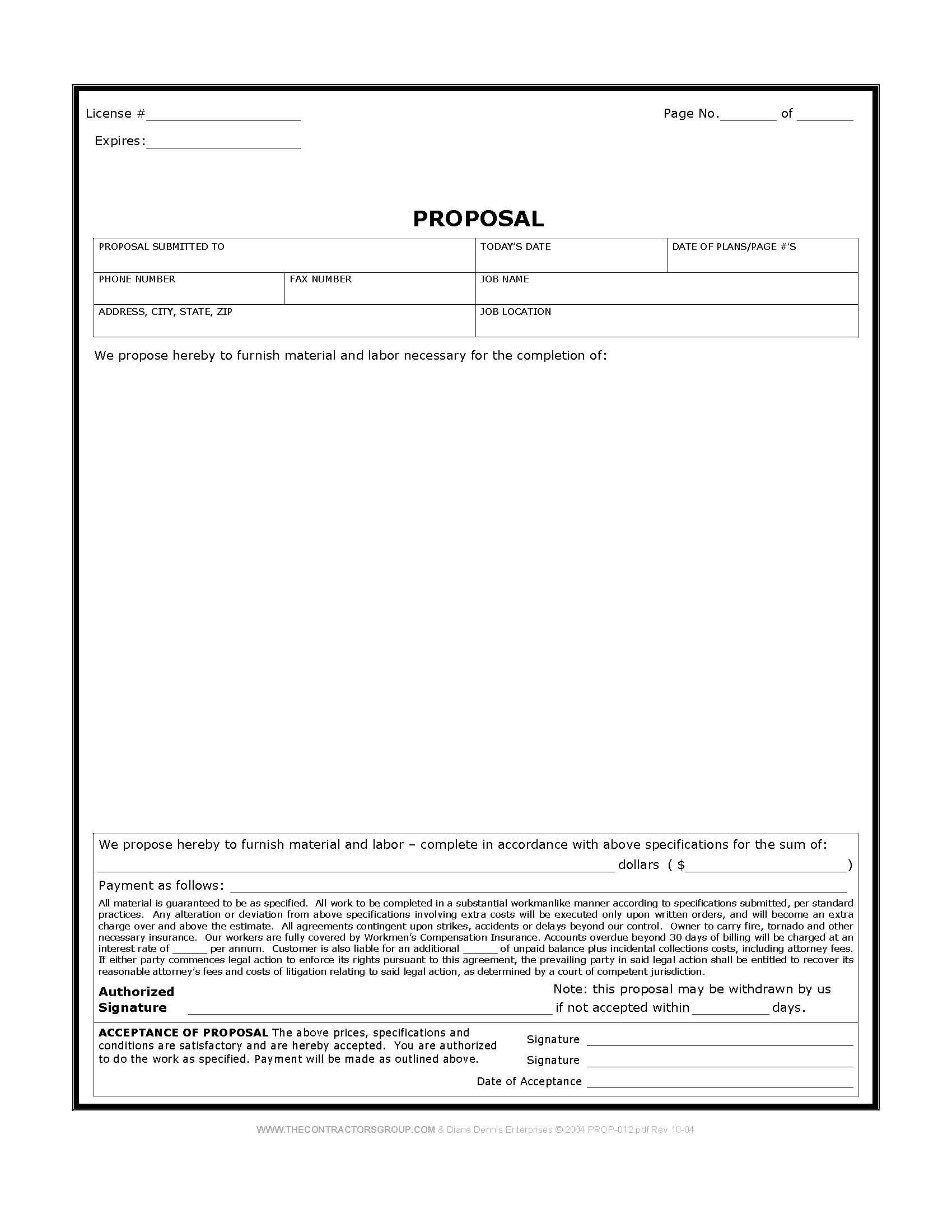 Free Print Contractor Proposal Forms | Construction Proposal Form - Free Printable Contractor Proposal Forms