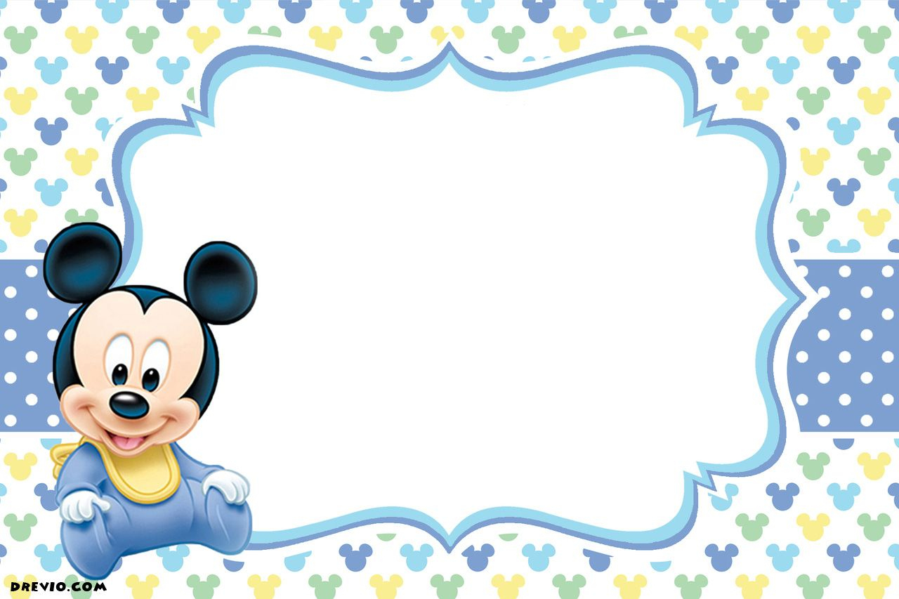 Free-Printable-1St-Mickey-Mouse-Birthday-Invitation---Calm-Blue - Free Printable Baby Mickey Mouse Birthday Invitations