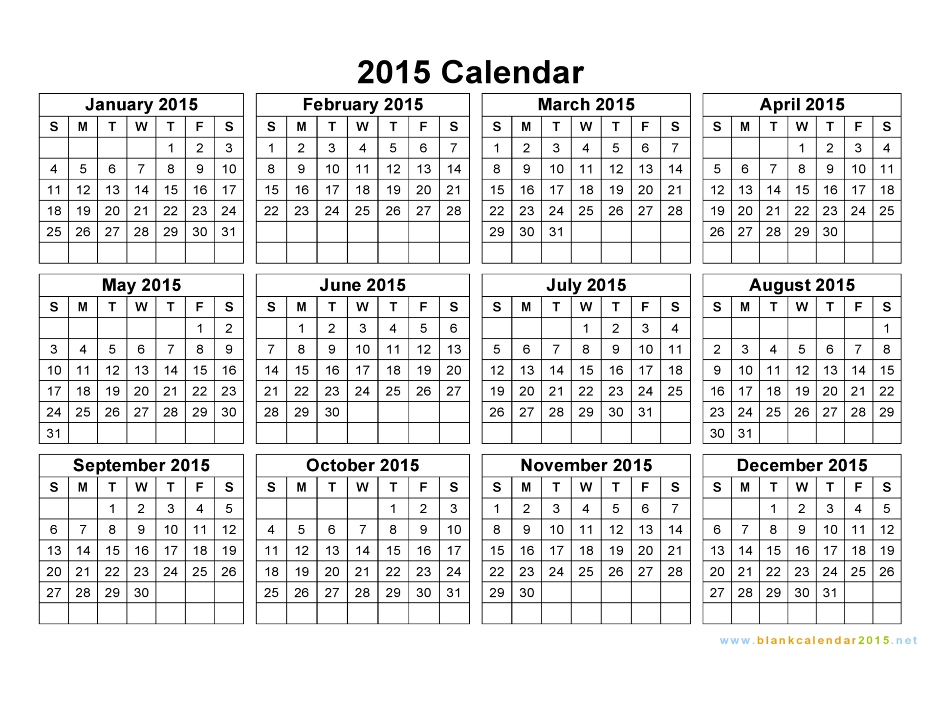 Free Printable 2015 Year Calendar Best Photos Of 2015 Yearly - Free Printable Diary 2015