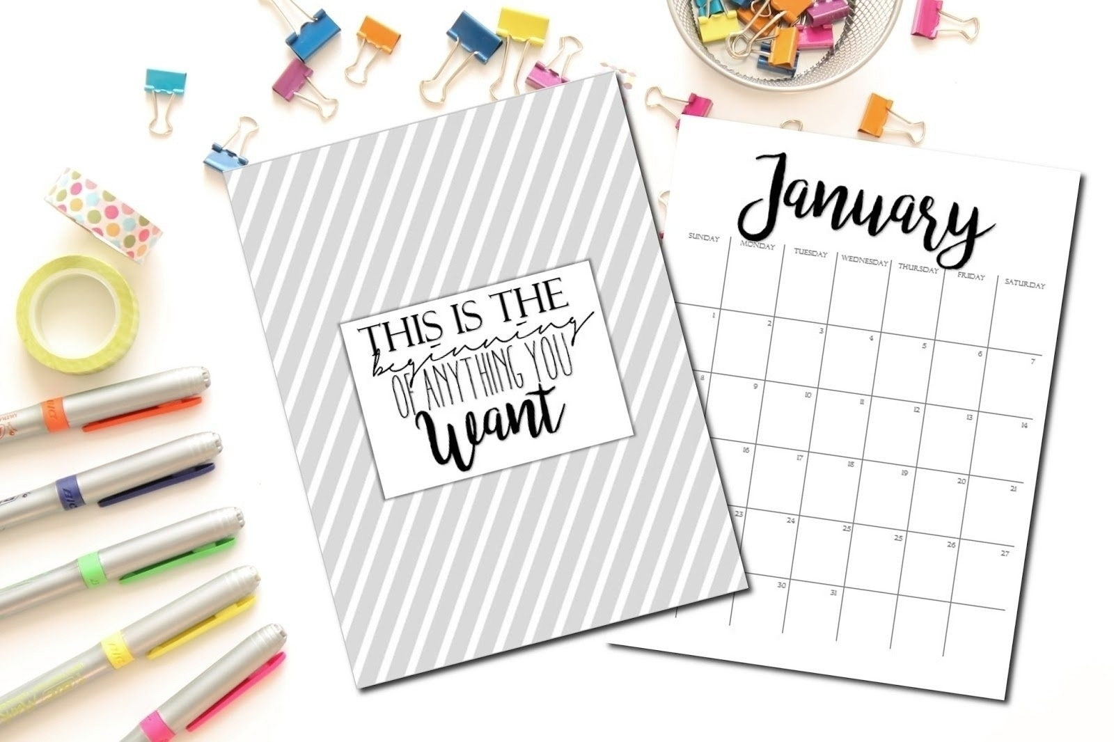 Free Printable 2017 Monthly Calendar And Weekly Planner With Cute - Free Cute Printable Planner 2017