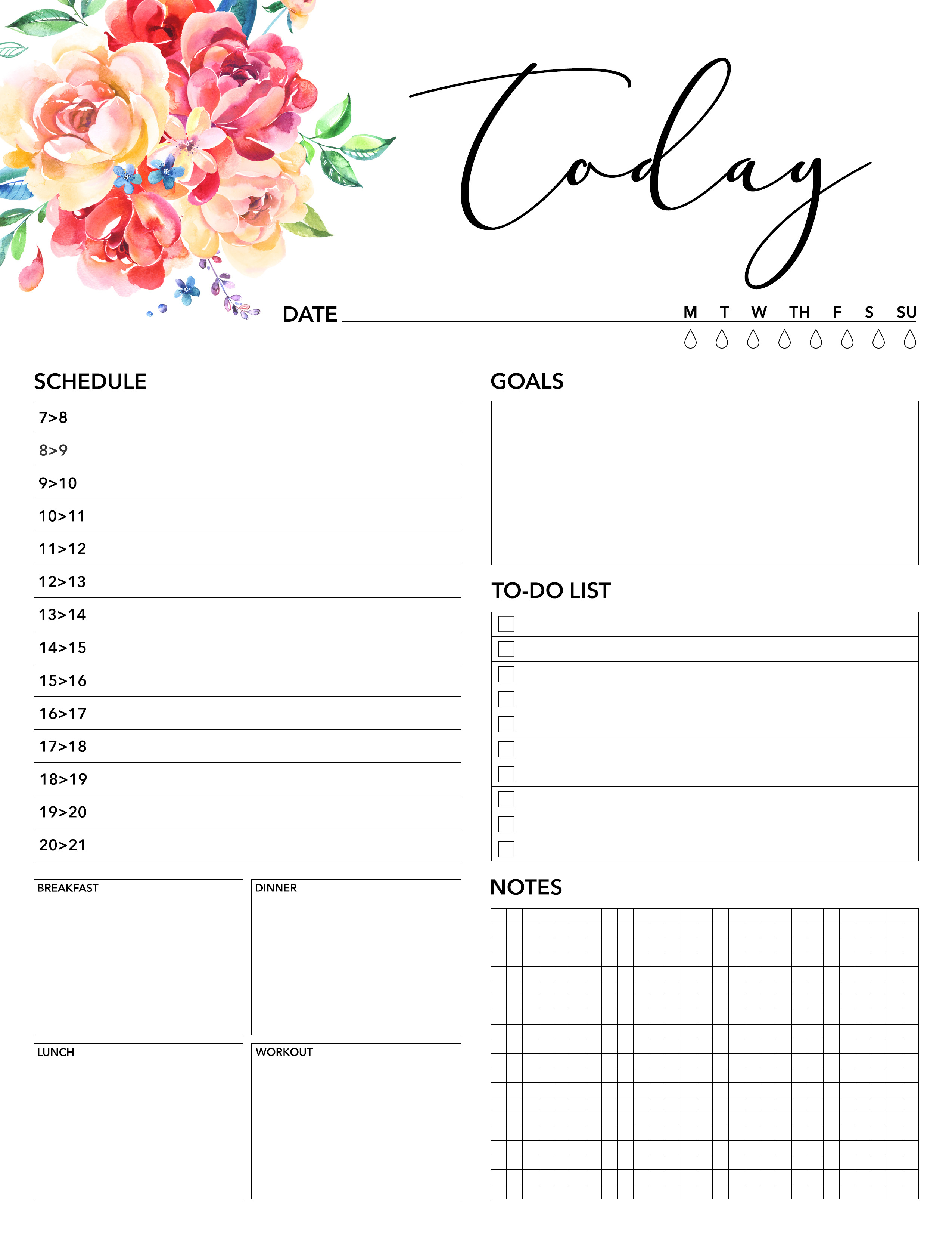 Free Printable 2018 Planner 50 Plus Printable Pages - The Cottage Market - Free Printable Diary Pages