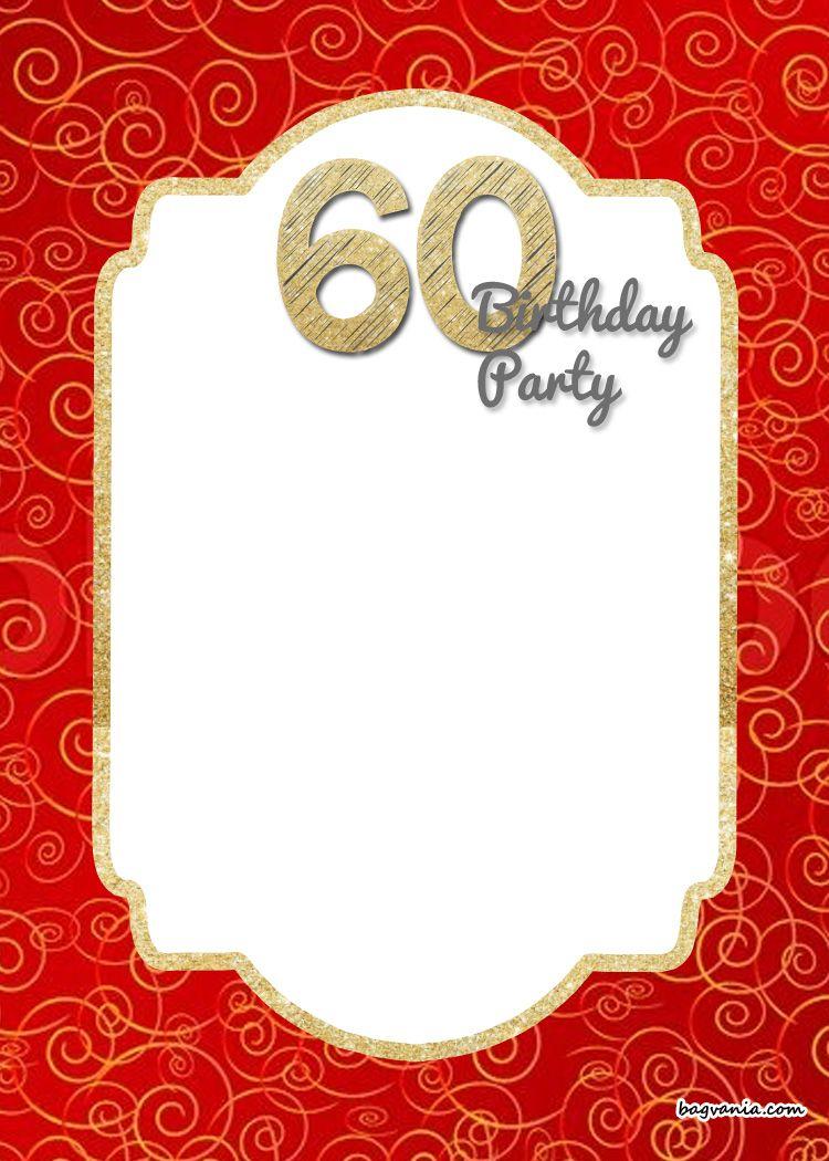 Free Printable 60Th Birthday Invitation | Como Deco | Free - Free Printable Surprise 60Th Birthday Invitations