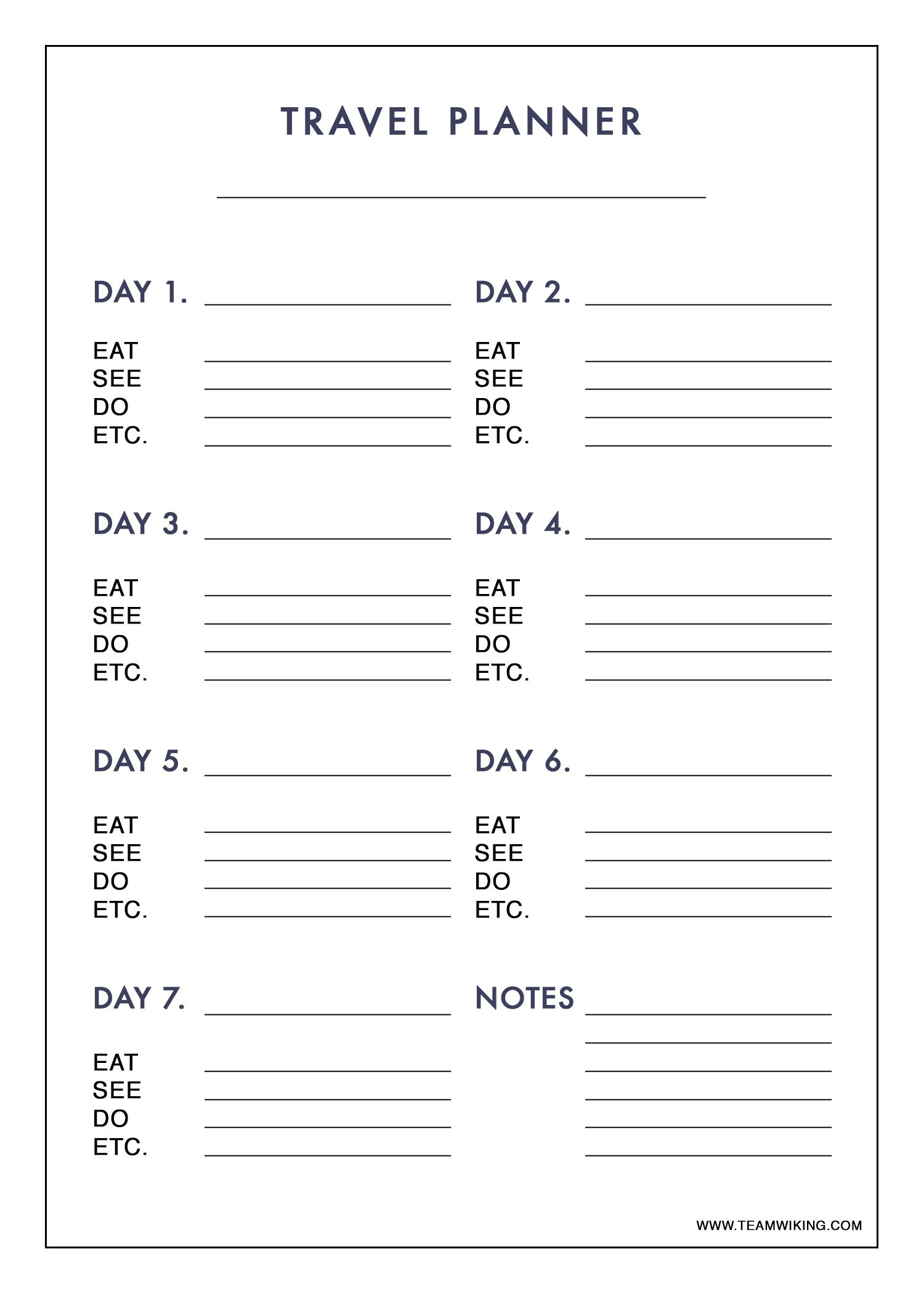 Free Printable 7 Day Travel Planner (Use To Plan Outfits - Packing - Free Printable Trip Planner