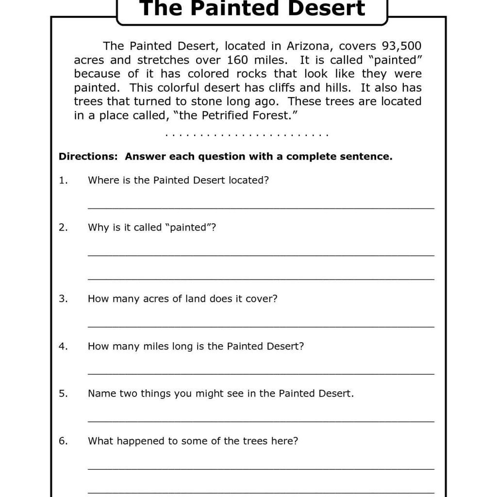 Free Printable 7Th Grade Reading Comprehension Worksheets Grade 3 - Free Printable English Comprehension Worksheets For Grade 4