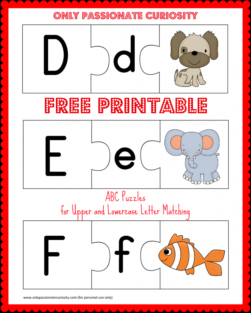 Free Printable Abc Puzzles: Upper And Lowercase Letter Matching - Free Printable Alphabet Letters Upper And Lower Case