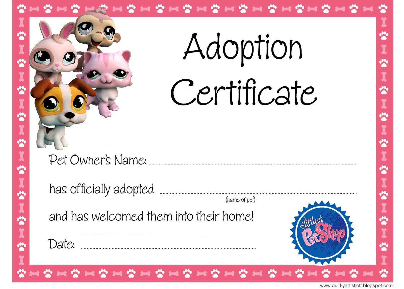 Free Printable Adoption Certificate – Printabletemplates - Free Printable Stuffed Animal Adoption Certificate