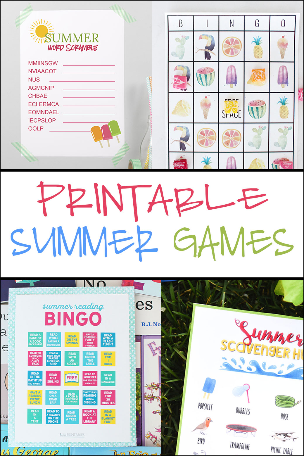 Free Printable Adorable Summer Bingo Cards - Pretty Providence - Free Printable Summer Games
