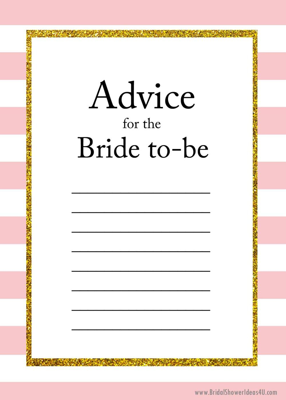 Free Printable Advice For The Bride To Be Cards | Friendship - Free Printable Bridal Shower Cards