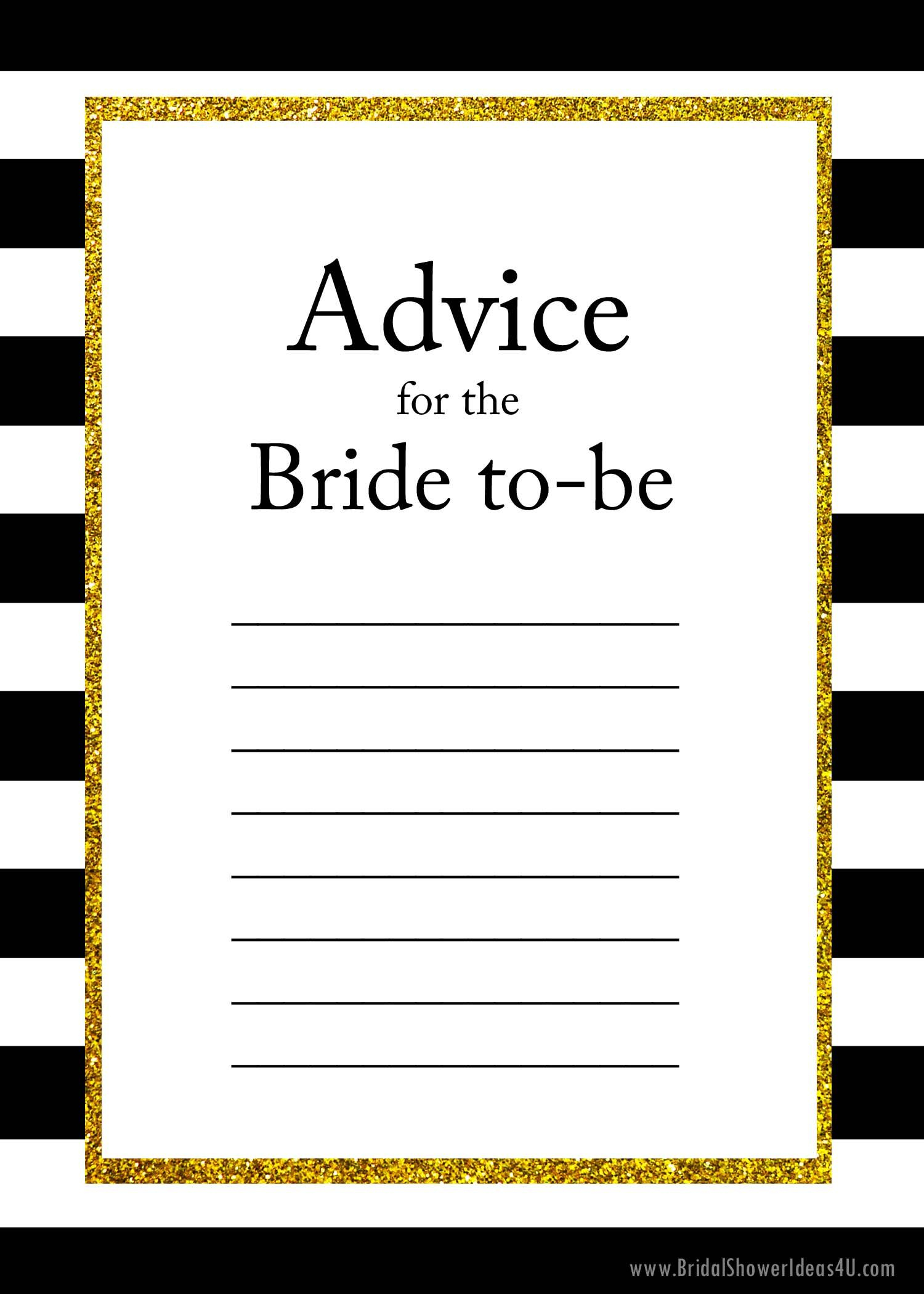 Free Printable Advice For The Bride To Be Cards | Maid Of Honor - Free Bridal Shower Printable Decorations