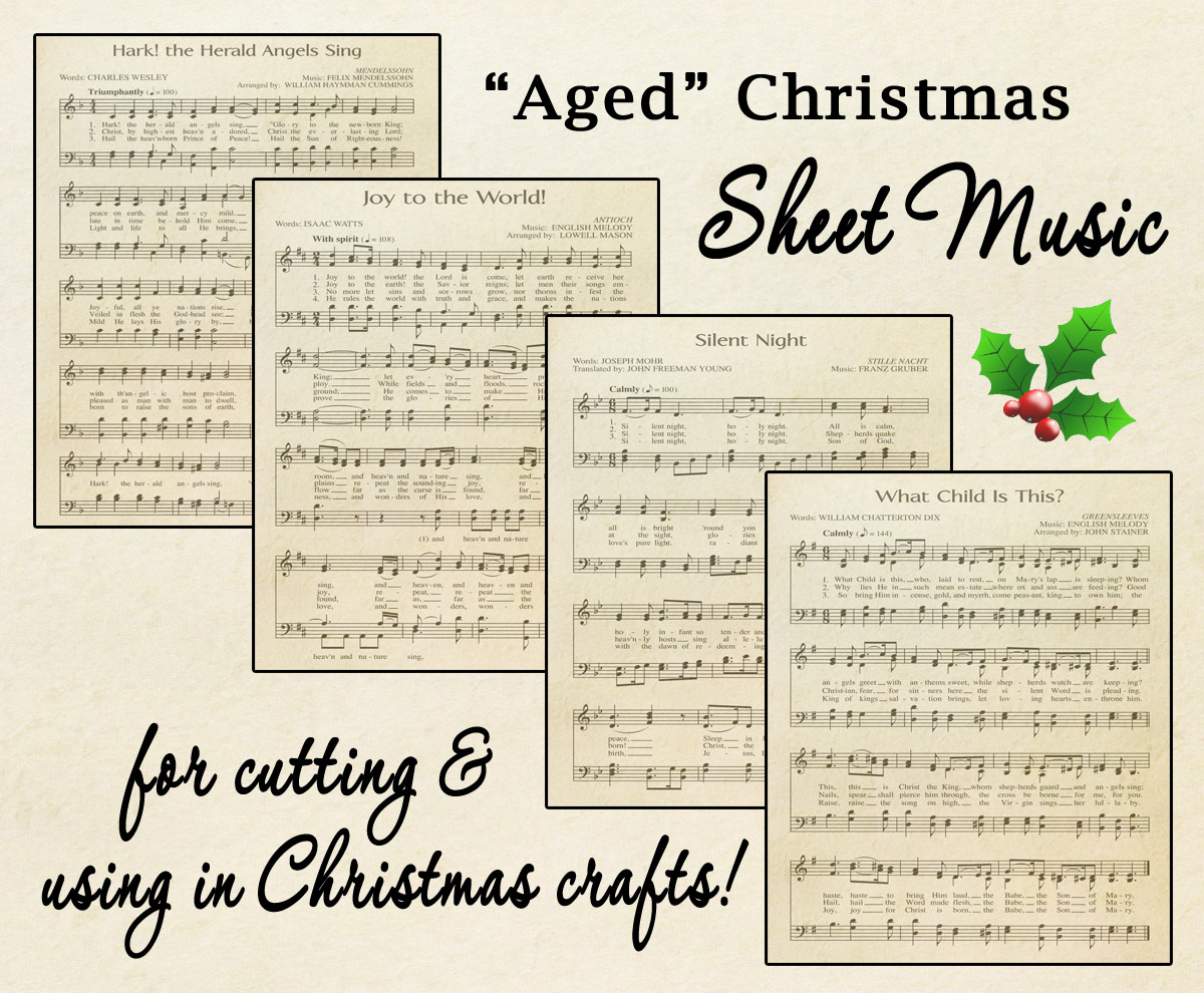 "Free Printable ""Aged"" Music Sheets   Celebrating Holidays - Free Printable Christmas Music Sheets Piano"