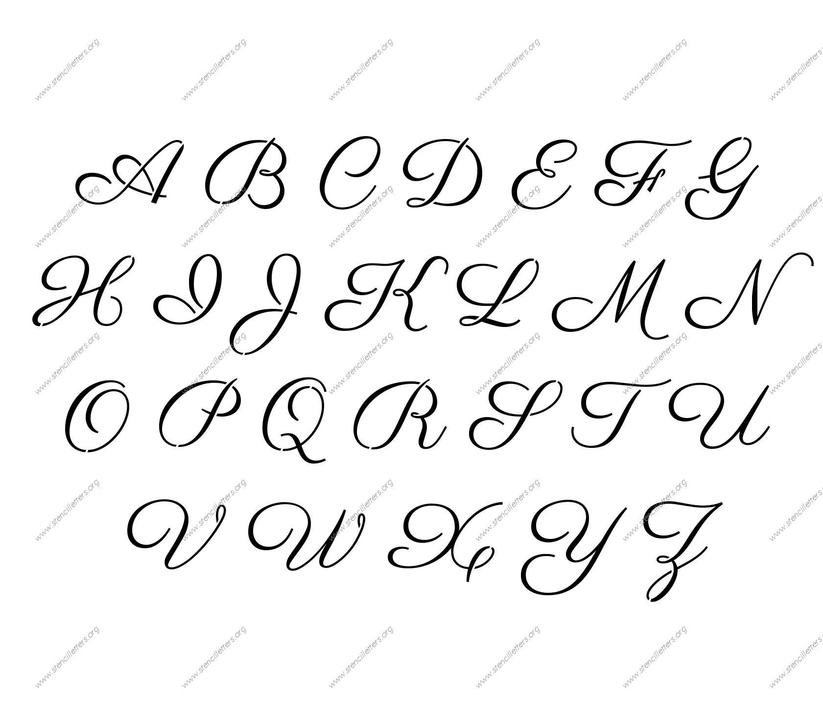 Free Printable Alphabet Stencil Letters Template | Art & Crafts - Free Printable Calligraphy Letter Stencils