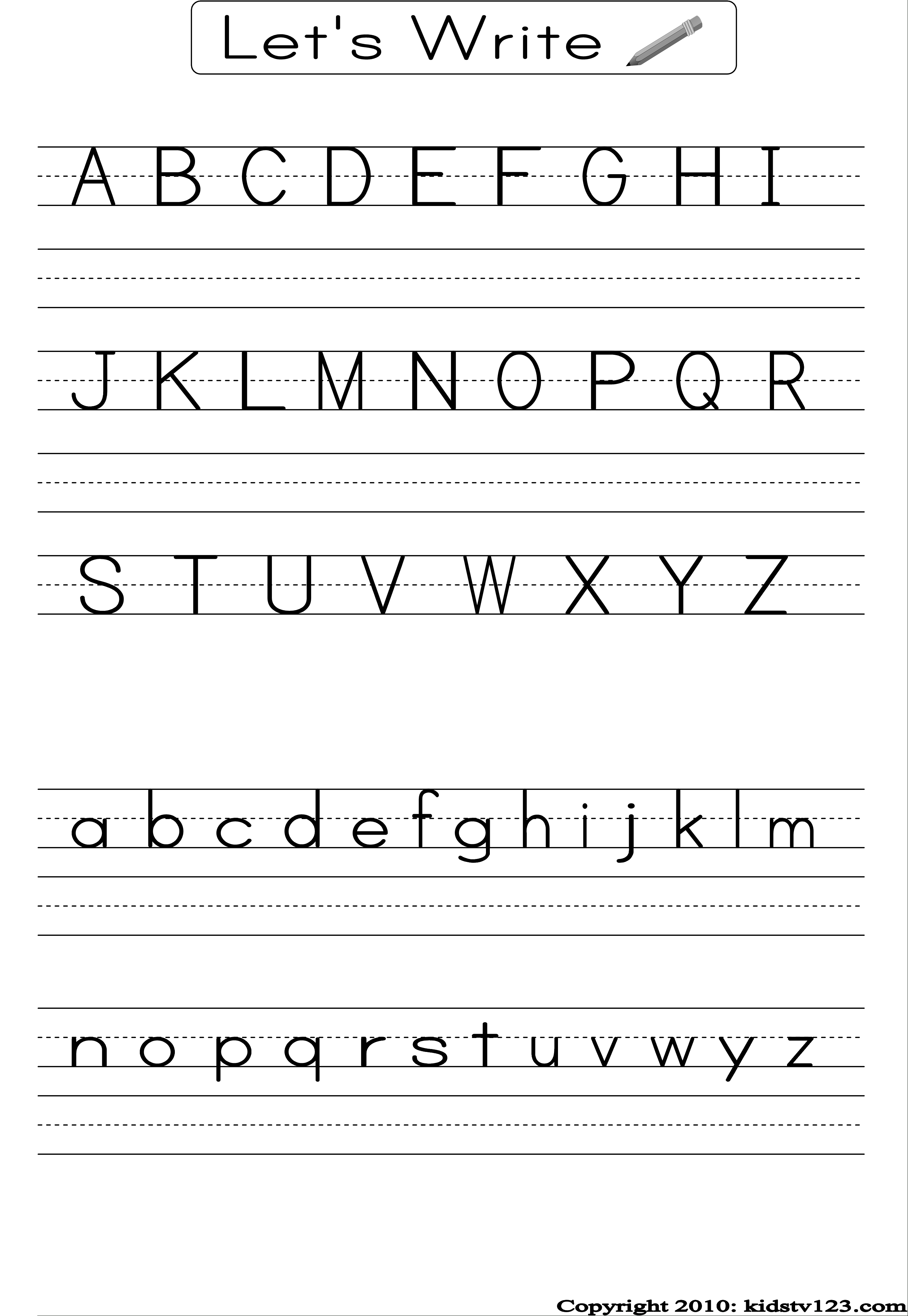 Free Printable Alphabet Worksheets, Preschool Writing And Pattern - Free Printable Letter Writing Worksheets