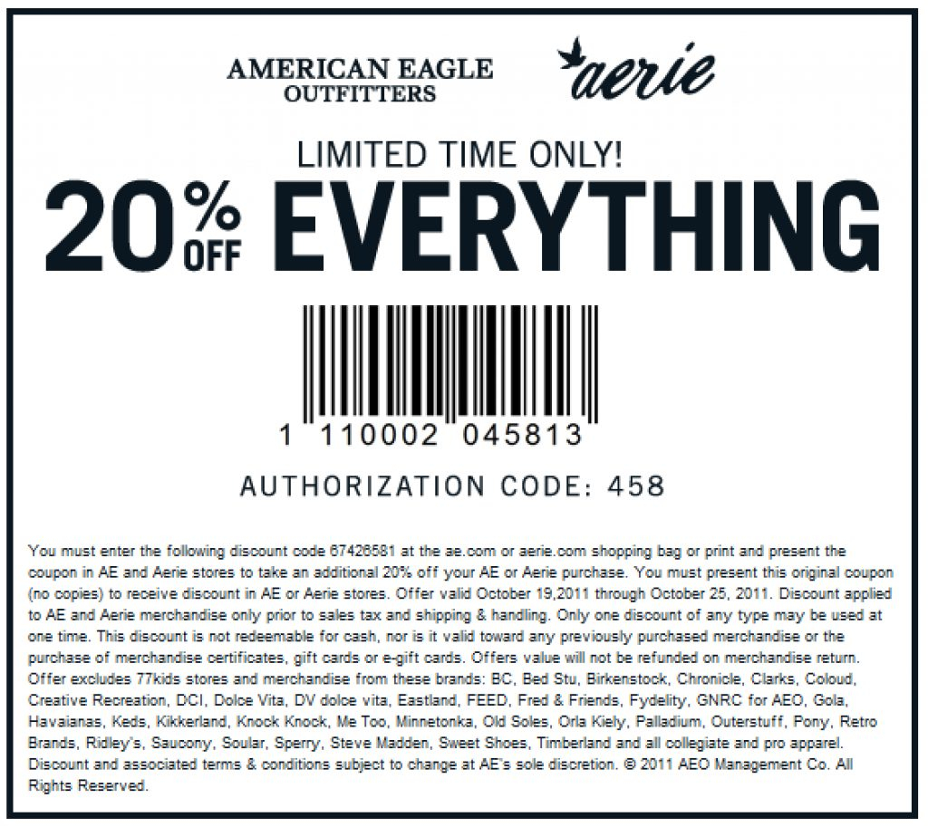 Free Printable American Eagle Coupons | Free Printable - Free Printable American Eagle Coupons