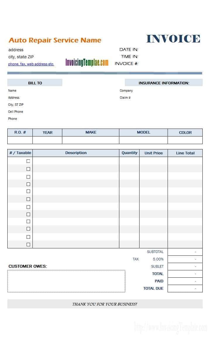 Free Printable Auto Repair Invoice - Pulpedagogen Spreadsheet - Free Printable Auto Repair Invoice Template