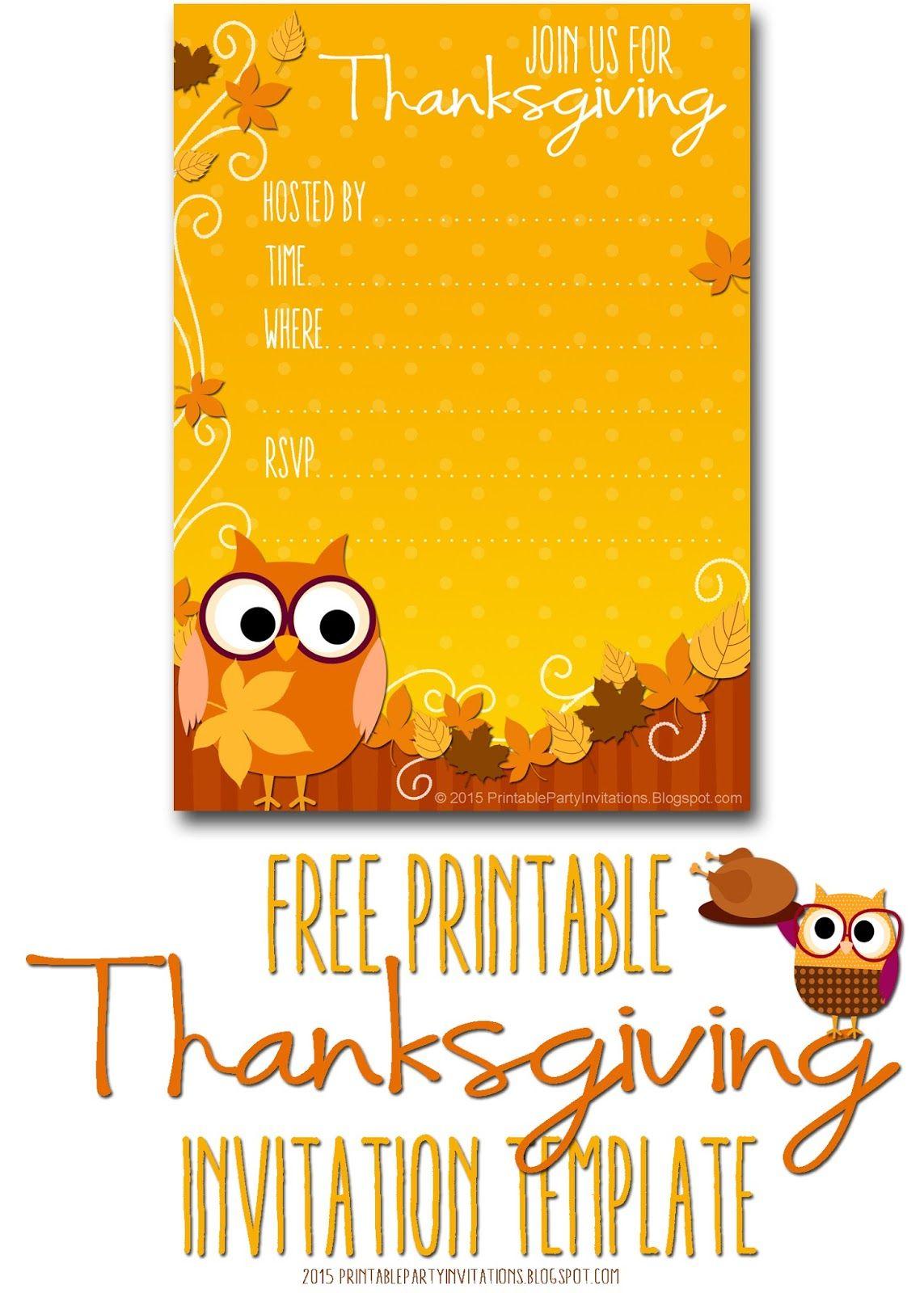 Free Printable Autumn Owl Thanksgiving Invitation Template   Party - Free Printable Thanksgiving Dinner Invitation Templates