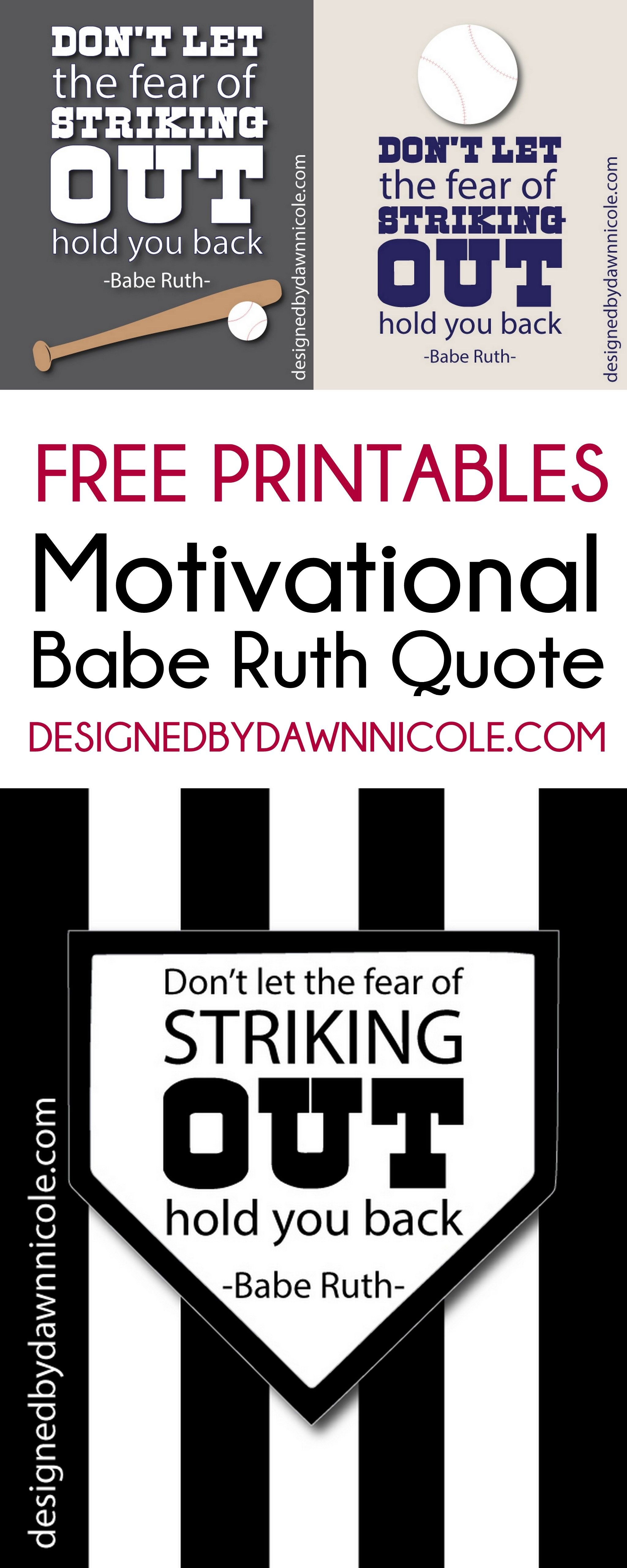 Free Printable: Babe Ruth Quote | Diy Home Decor Ideas | Pinterest - Free Printable Softball Pictures