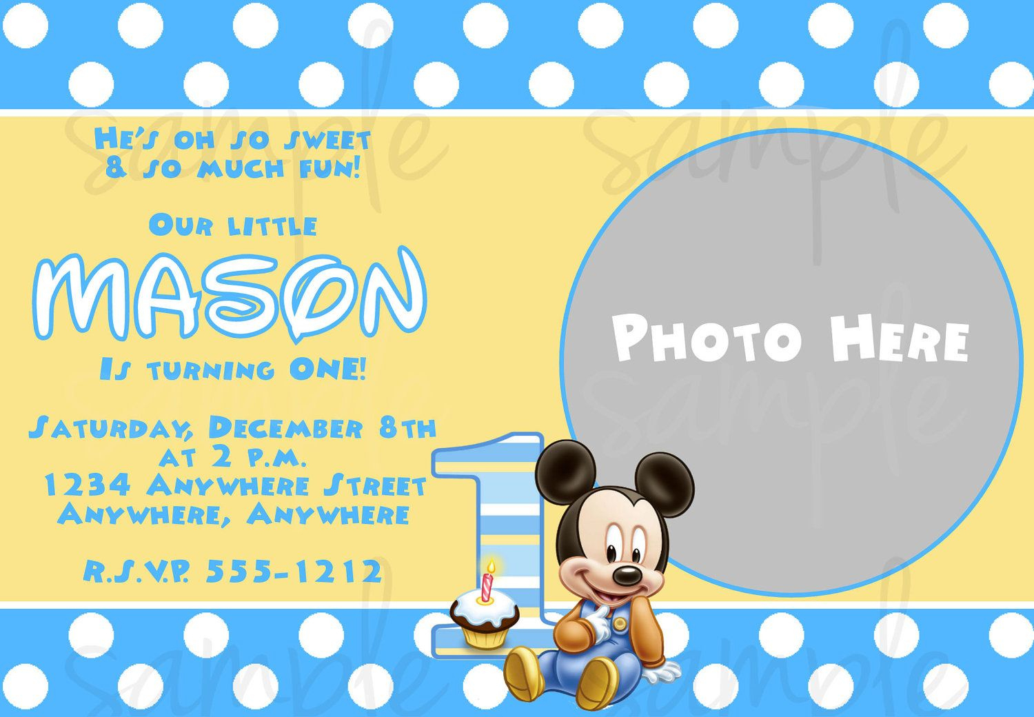 Free Printable Baby Mickey Mouse 1St Birthday Invitations | Andrei - Free Printable Mickey Mouse 1St Birthday Invitations