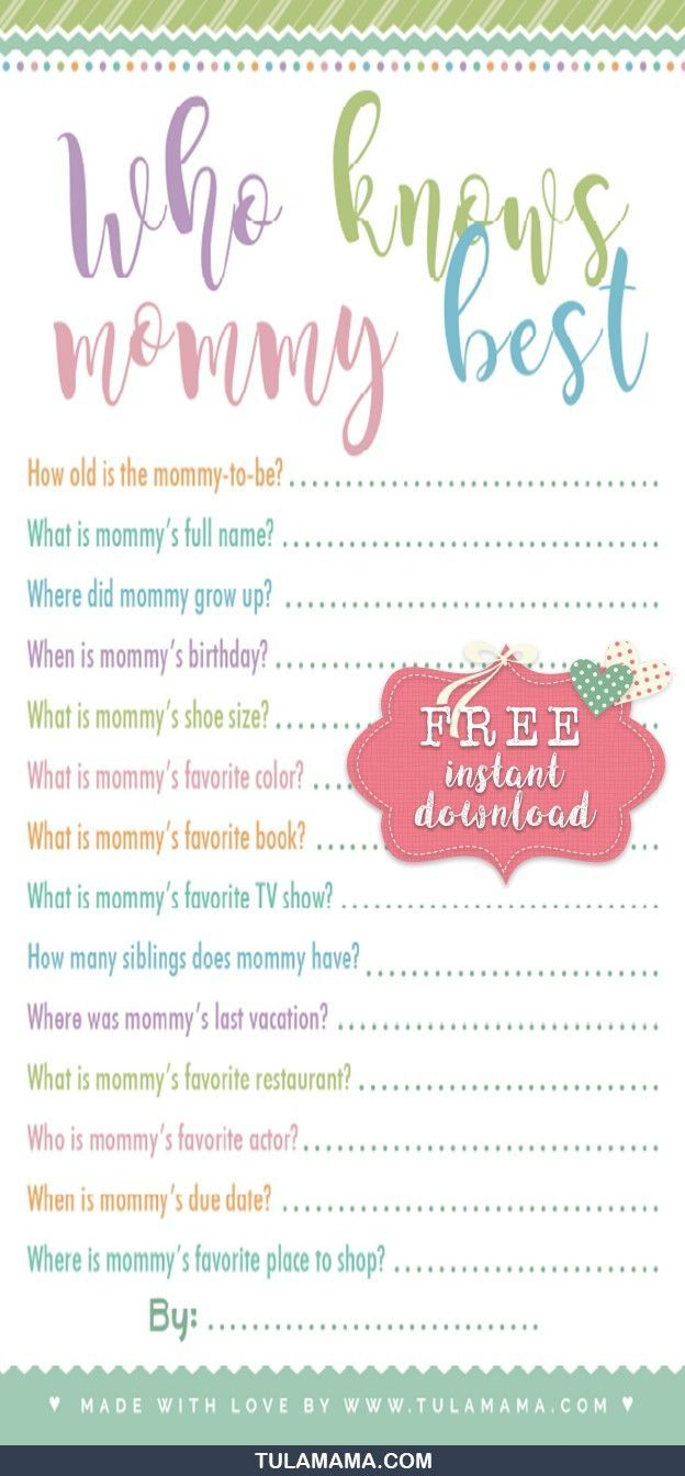 Free Printable Baby Shower Games Who Knows Mommy The Best - Free Printable Baby Shower Games Who Knows Mommy The Best