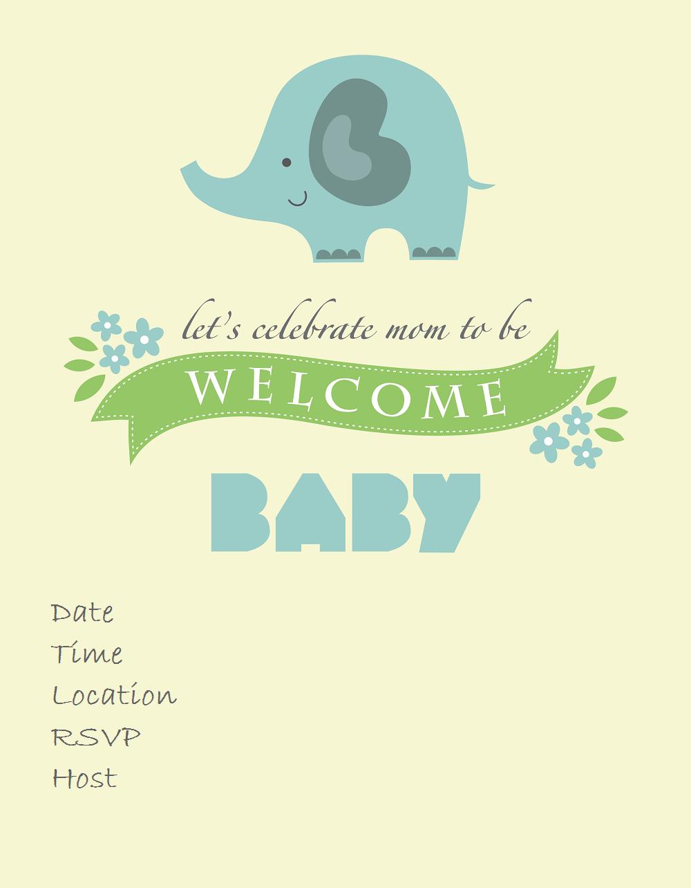 Free Printable Baby Shower Invitations - Baby Shower Ideas - Themes - Free Printable Elephant Baby Shower Invitations