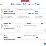 Free Printable Babysitter Information Sheet | Templates At   Free Printable Customer Information Sheets