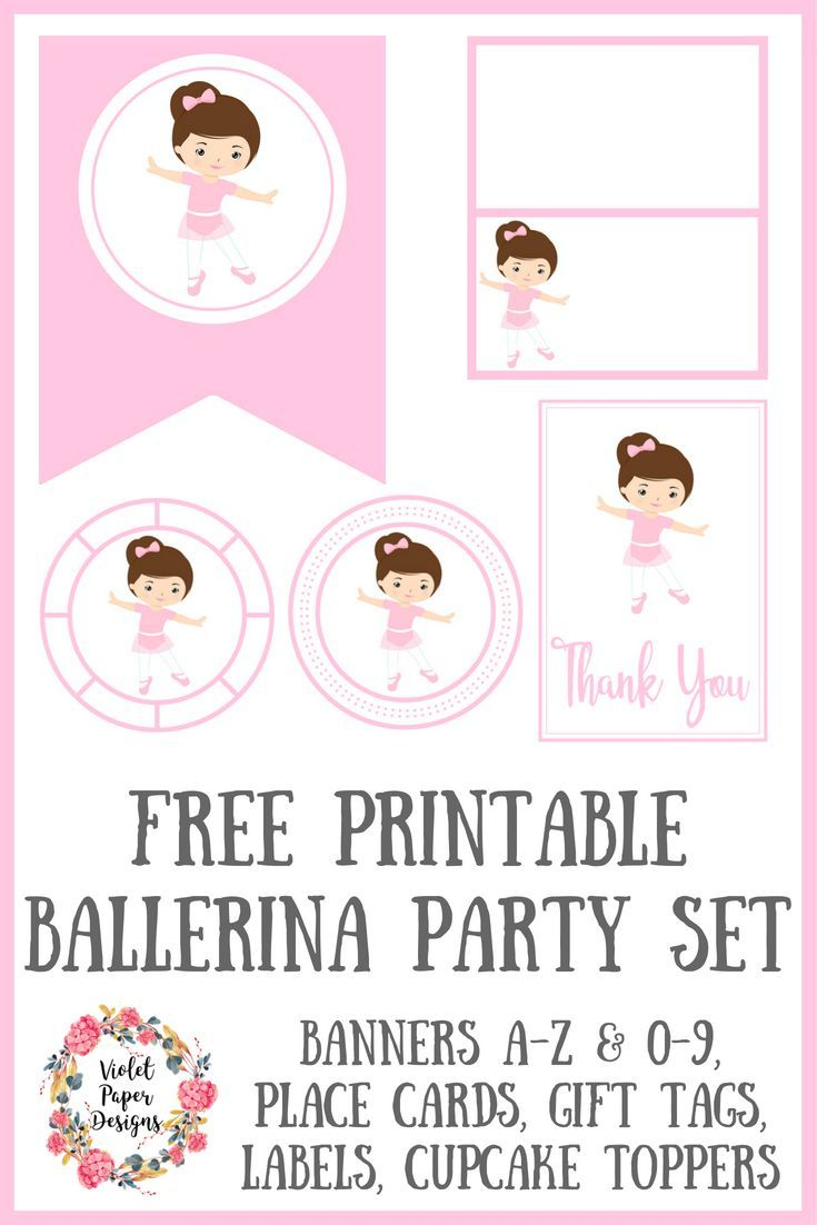 Free Printable Ballerina Party Set | Planners, Printables And - Free Printable Dance Recital Cards
