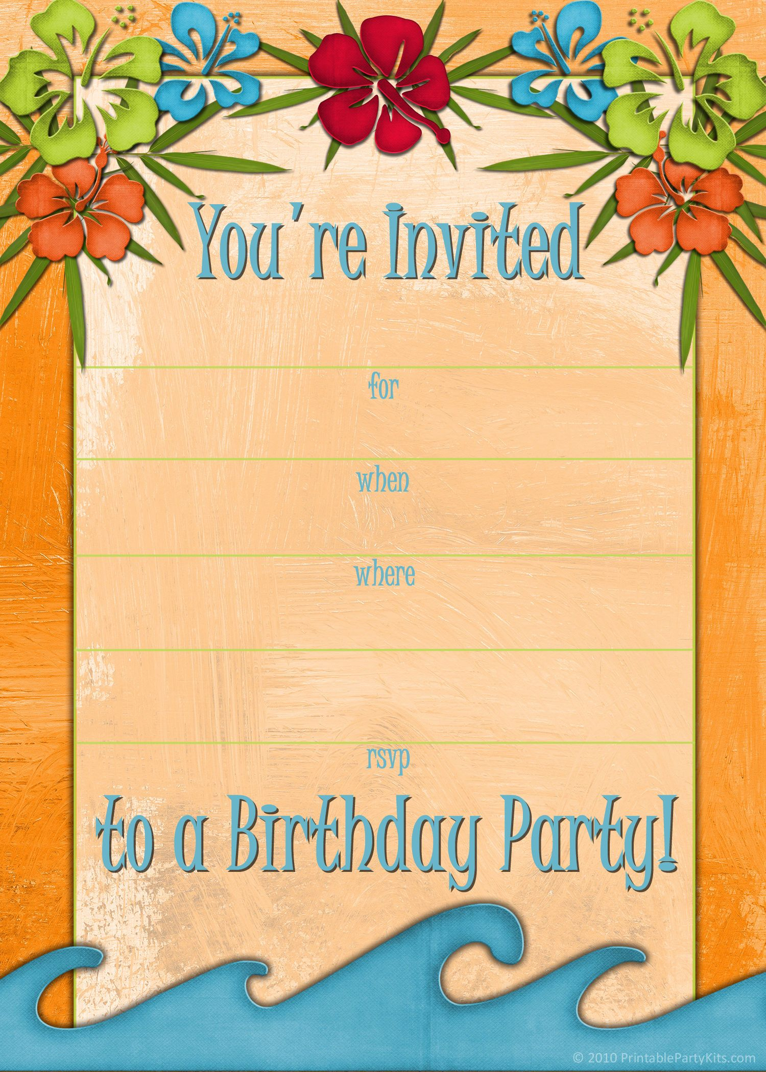 Free Printable Beach Party, Luau And Bbq Invitations Templates - Free Printable Beach Pictures