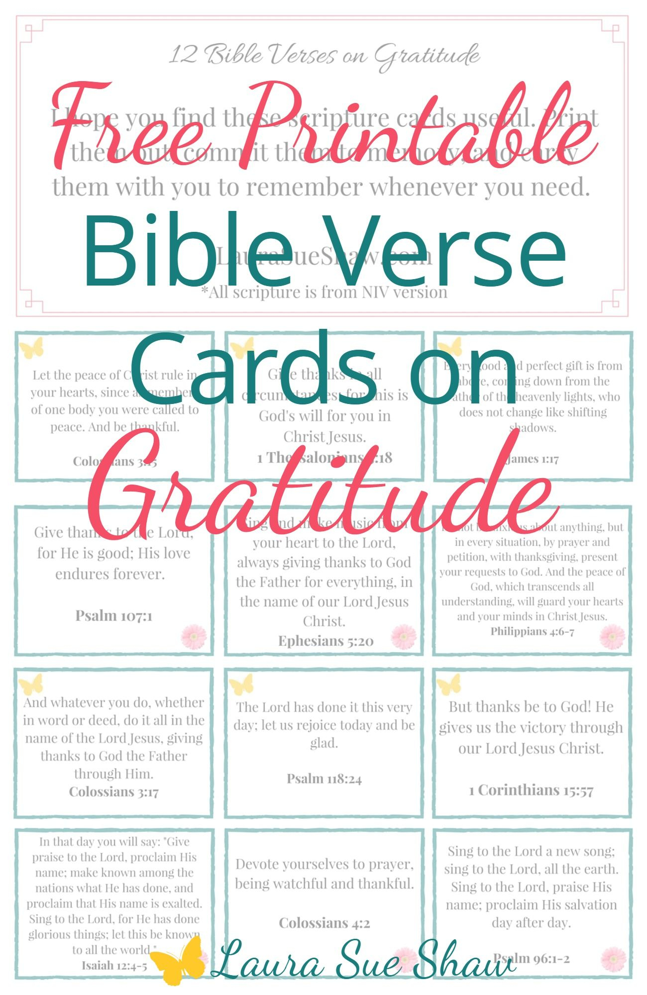 Free Printable Bible Verse Cards On Gratitude | Prayer | Bible - Free Printable Bible Verse Cards