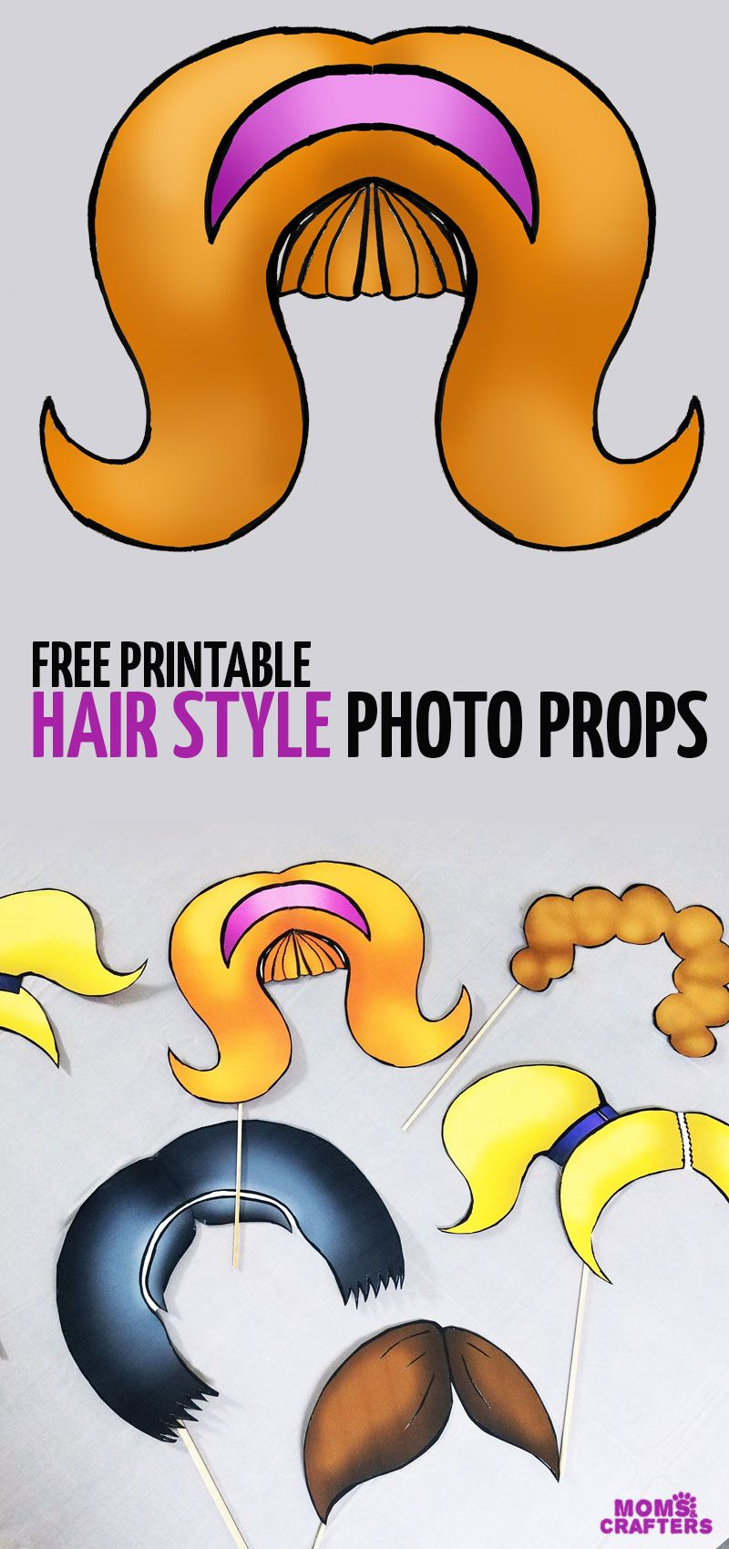Free Printable Big Hair Photo Props! | Moms And Crafters: On The - Free Printable 70's Photo Booth Props