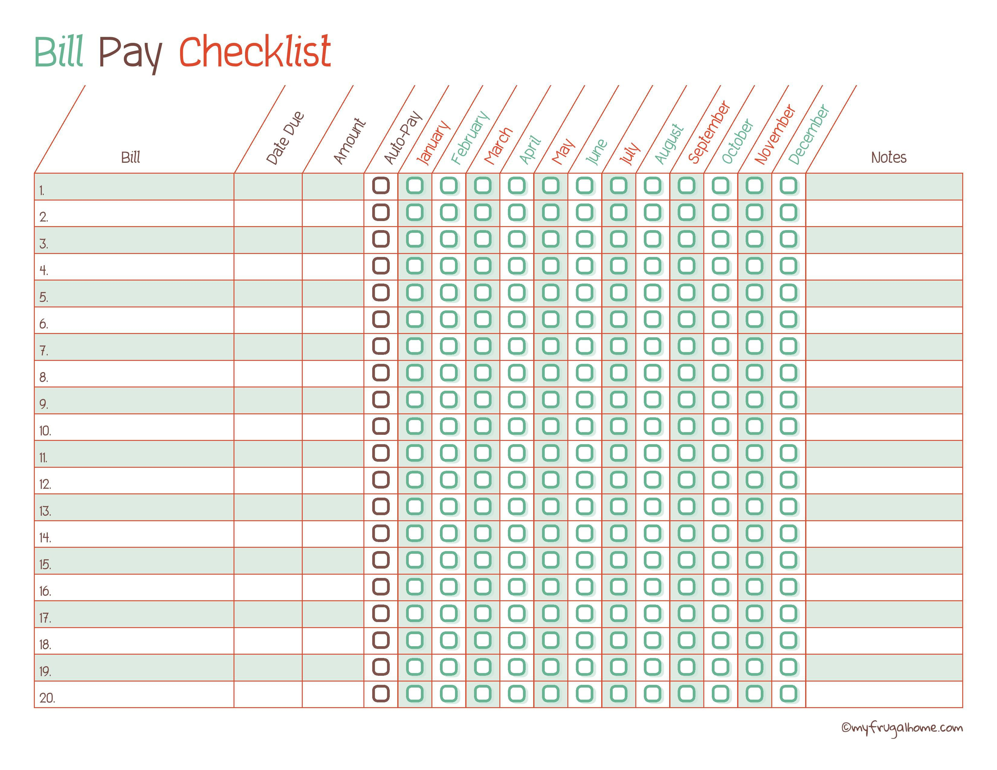 Free Printable Bill Pay Calendar Templates - Free Printable Monthly Bill Checklist
