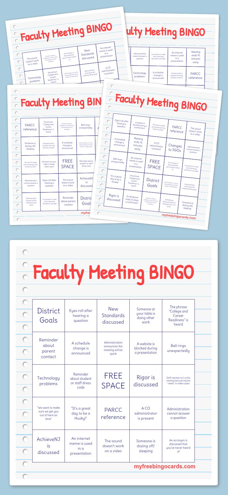 Free Printable Bingo Cards   R/t Work   Faculty Meetings, School - Free Printable Bingo Cards For Teachers