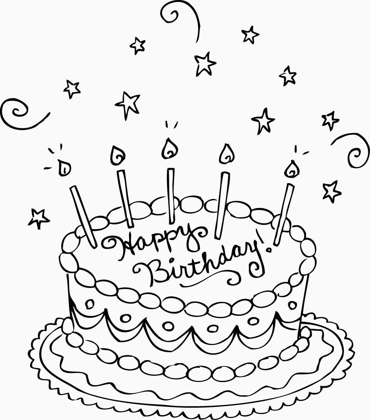 Free Printable Birthday Cake Coloring Pages For Kids For Party - Free Printable Pictures Of Birthday Cakes