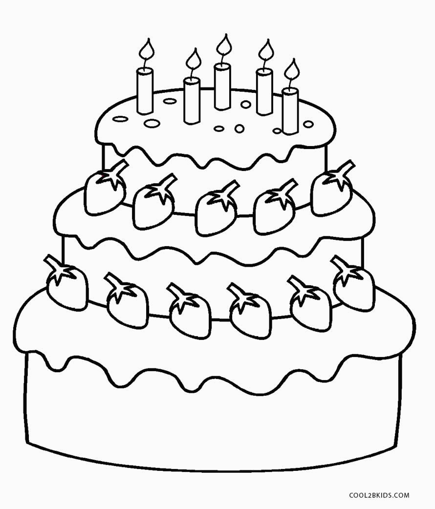 Free Printable Birthday Cake Coloring Pages For Kids For Picture Of - Free Printable Pictures Of Birthday Cakes