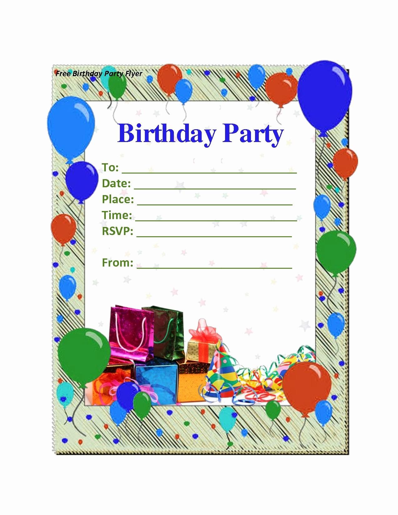 Free Printable Birthday Flyer Templates Cocktail Party Invitation - Free Printable Birthday Party Flyers
