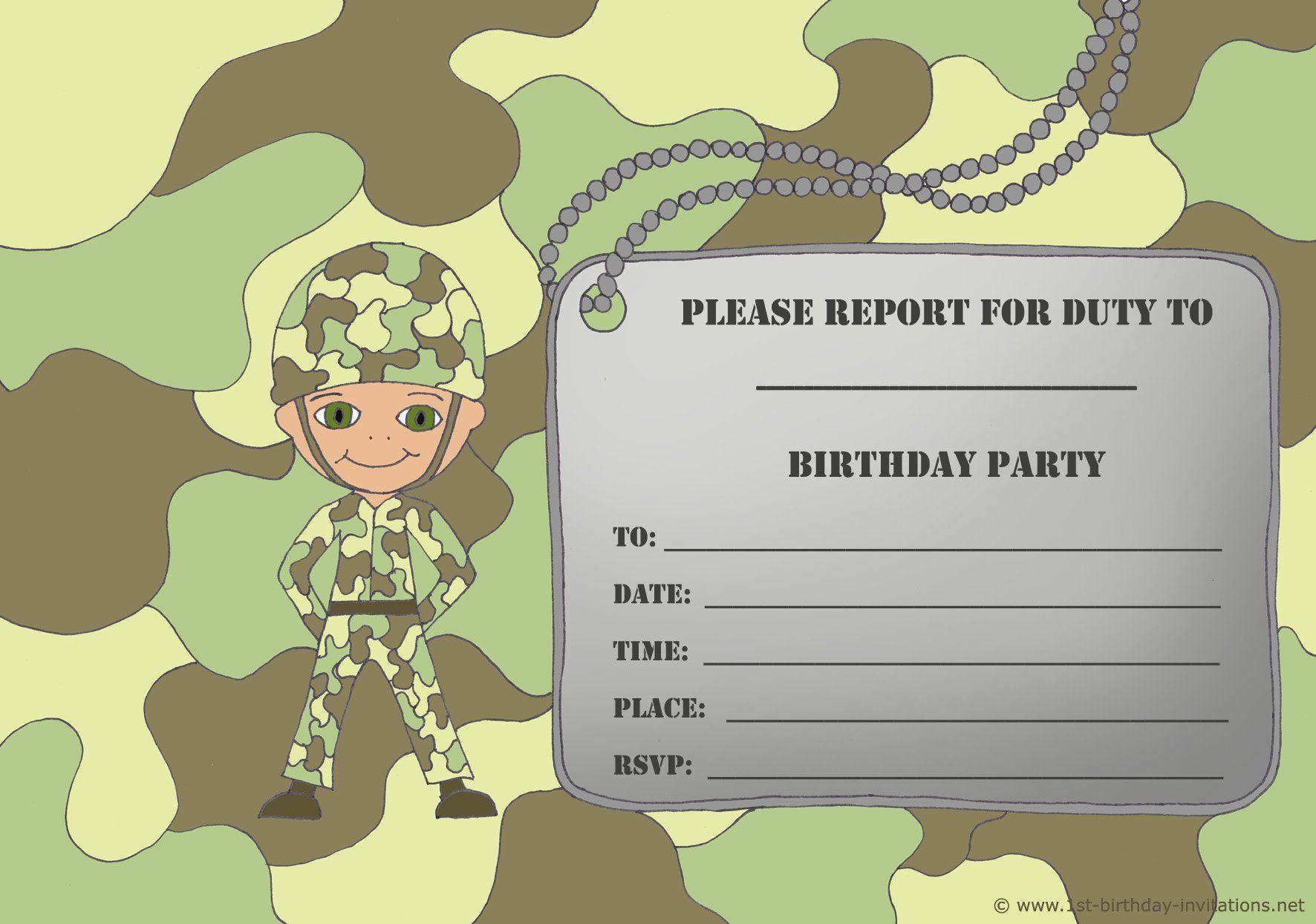 Free Printable Birthday Invitations For Boy - New Birthday Card - Free Printable Camouflage Invitations