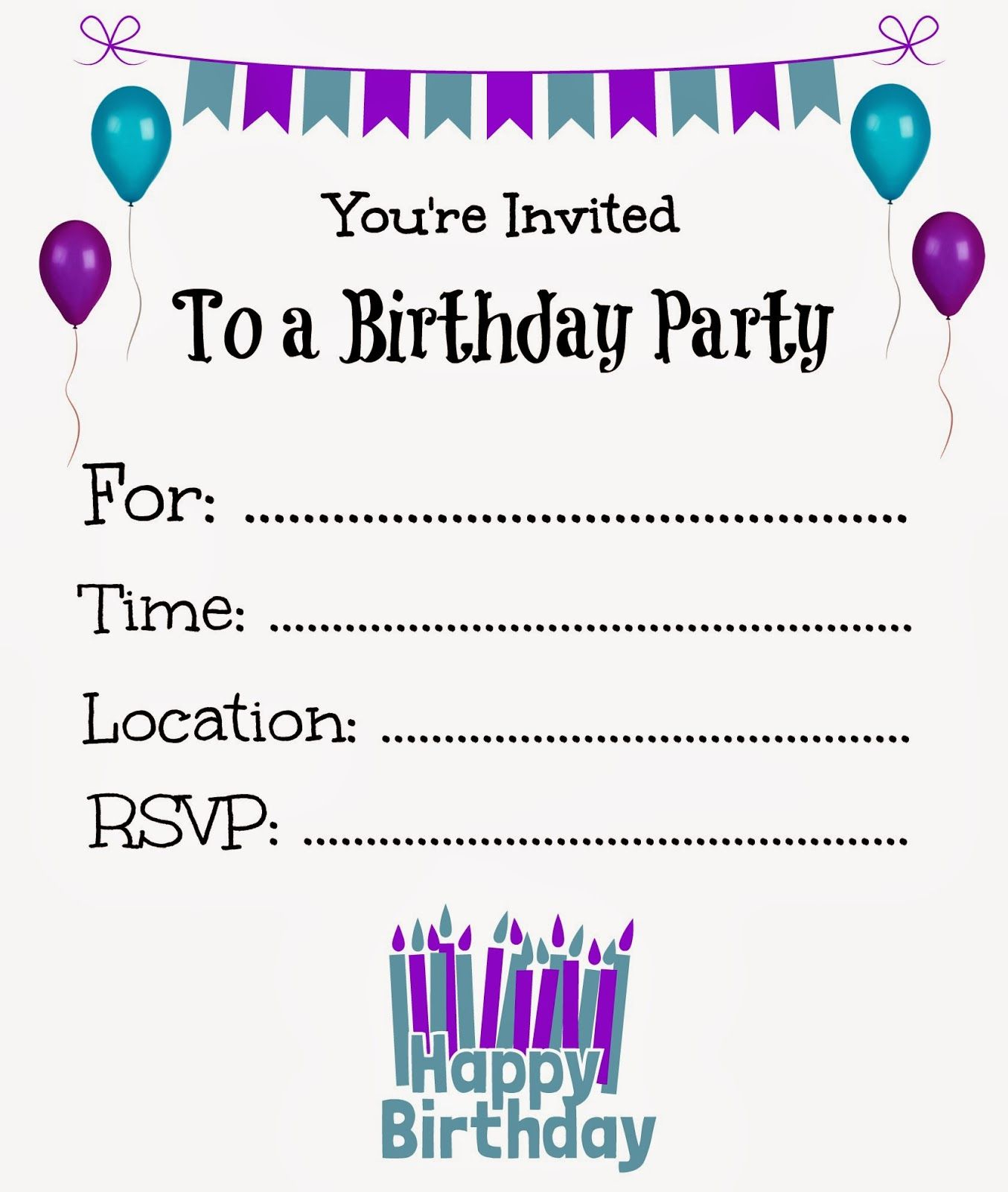 Free Printable Birthday Invitations For Kids #freeprintables - Free Printable 18Th Birthday Invitations