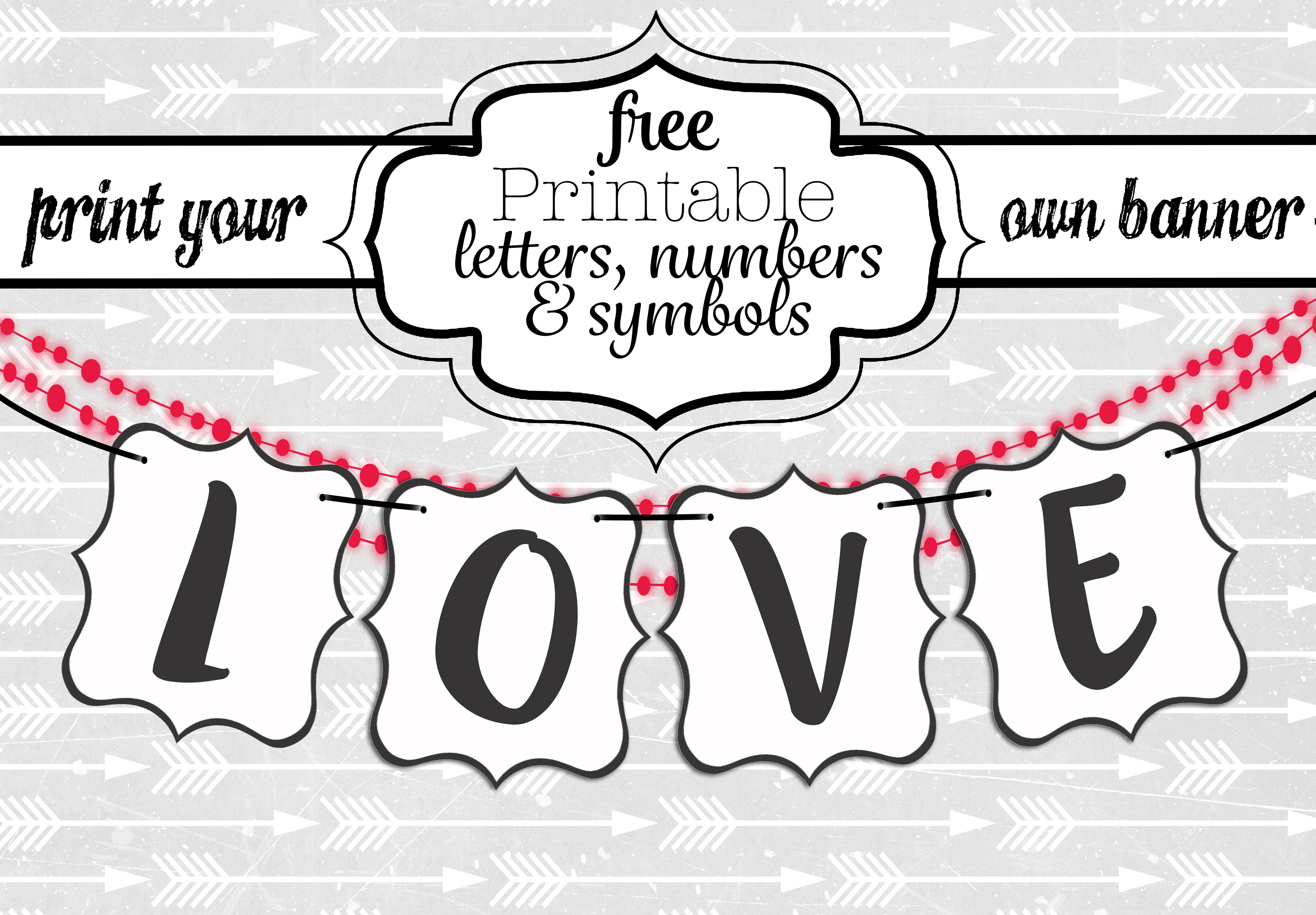 Free Printable Black And White Banner Letters | Diy Swank - Diy Birthday Banner Free Printable
